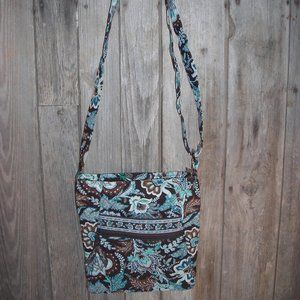 Vera Bradley turquoise & brown crossbody purse